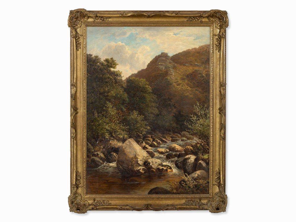 John Barrett, Oil Painting, Rocky Landscape with River,