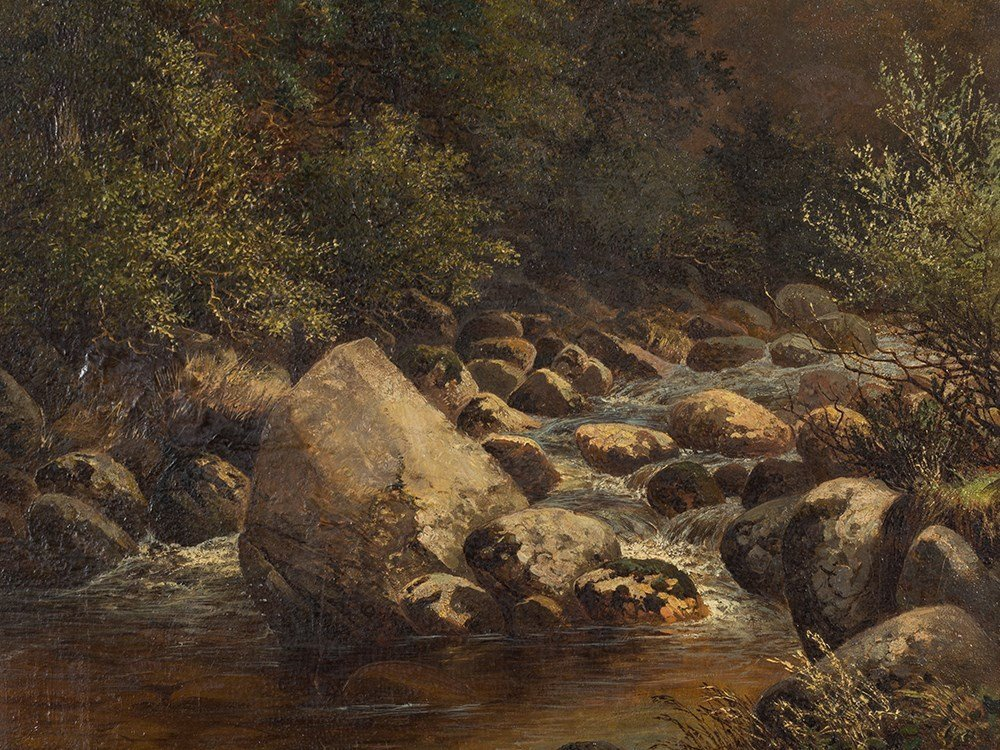 John Barrett, Oil Painting, Rocky Landscape with River, - 3