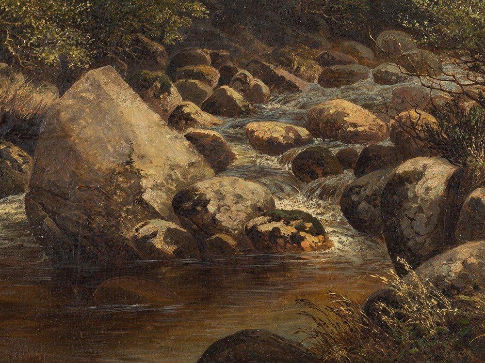 John Barrett, Oil Painting, Rocky Landscape with River, - 4