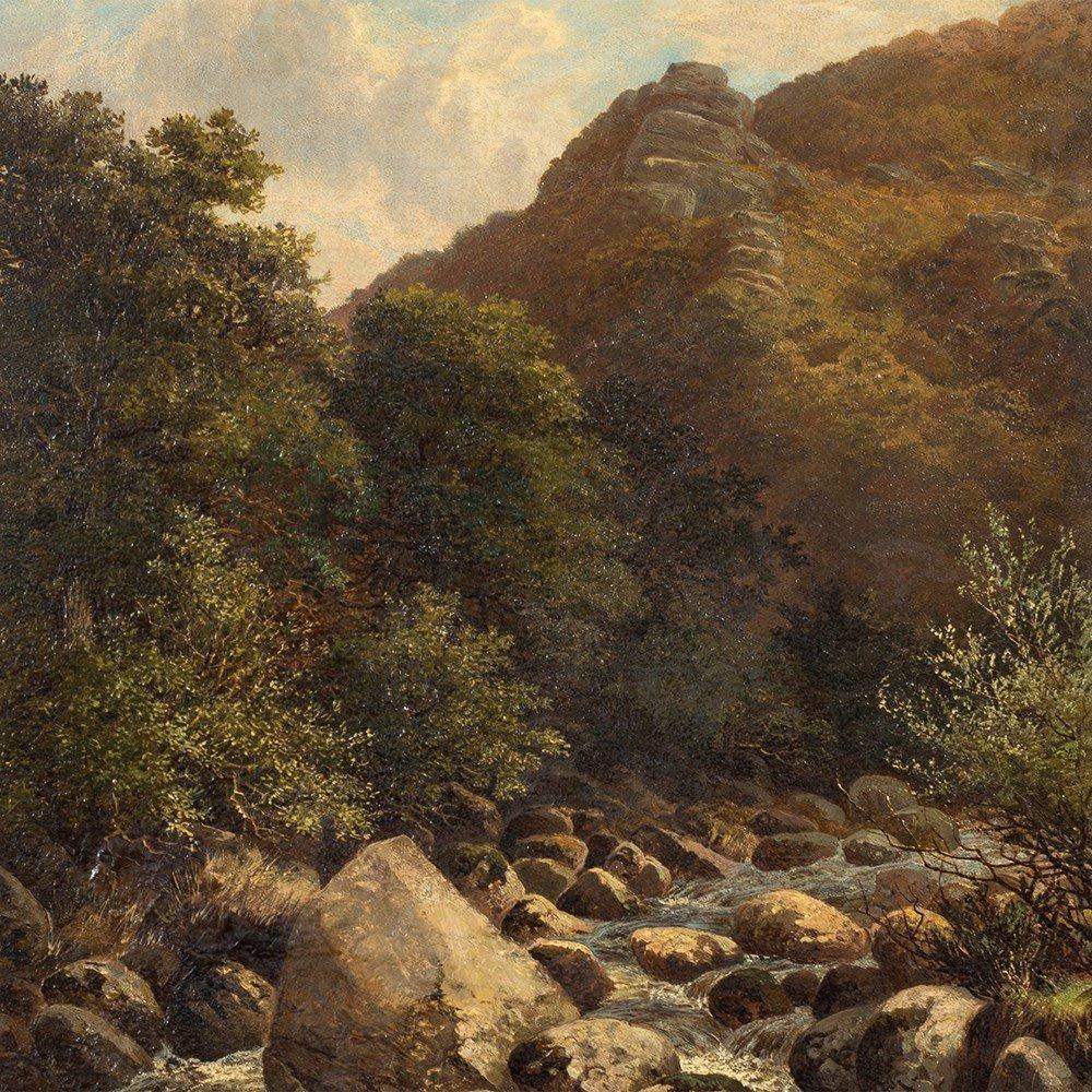 John Barrett, Oil Painting, Rocky Landscape with River, - 9