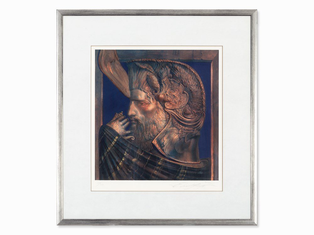 Ernst Fuchs, Serigraph in Colors, David, Austria, about