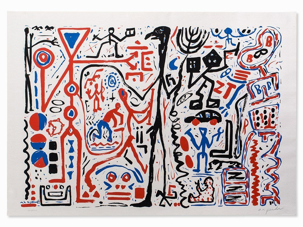 A. R. Penck (b. 1939), Color Serigraph, Composition,