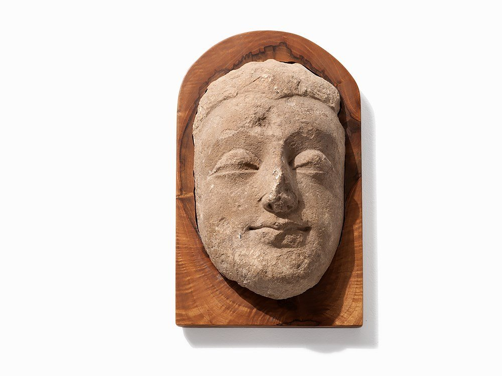 Gandhara Stucco Relief Head of Buddha, 3rd/4th C.
