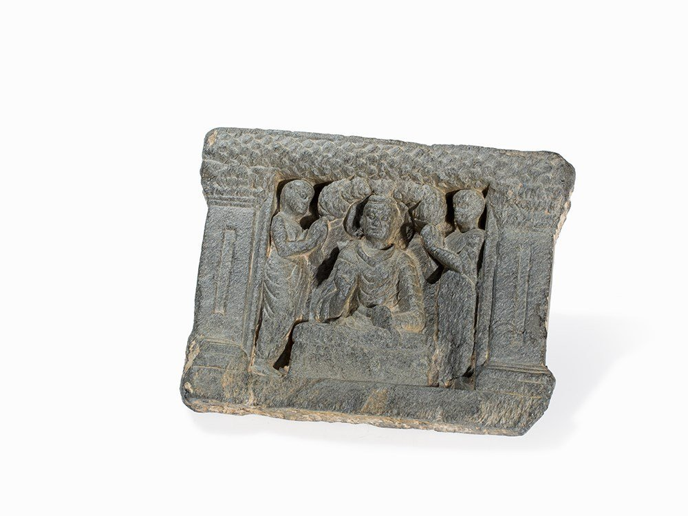 Gandhara Schist Relief with Buddha under Bodhi Tree,