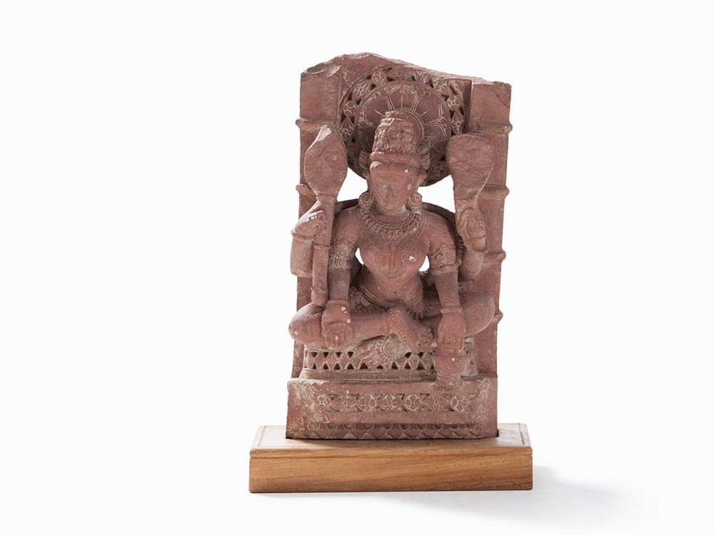 Sandstone Relief Figure of a Parvati with 4 Arms, 12th