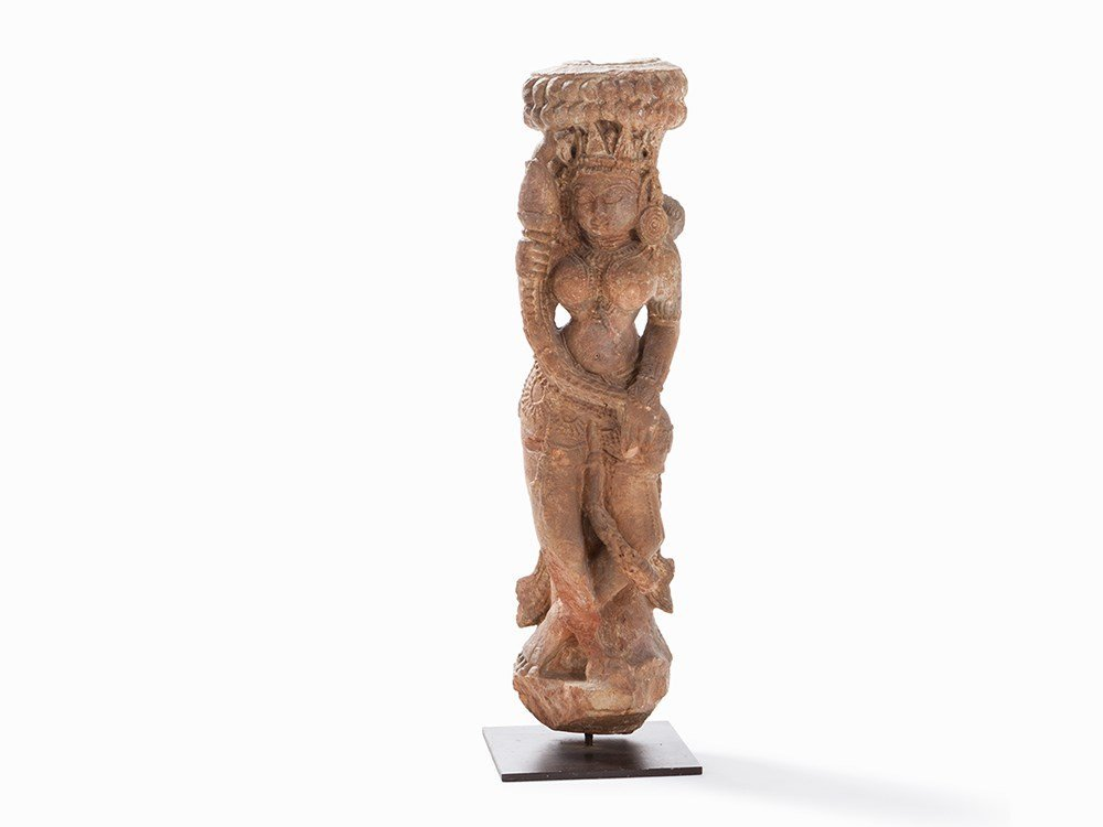 Sandstone Figure Apsara with Lotus, 11th/12th C.