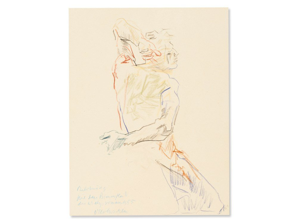 Oskar Kokoschka, Drawing, Back View of a Male Nude,
