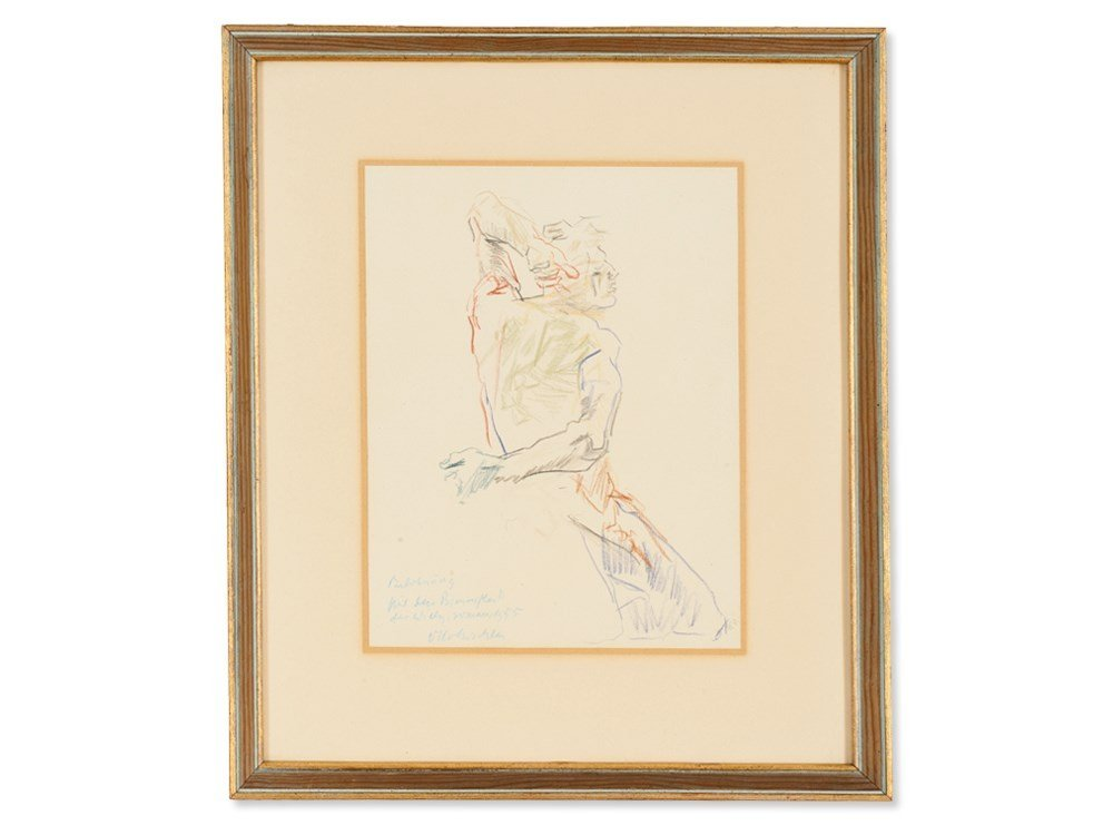 Oskar Kokoschka, Drawing, Back View of a Male Nude, - 2