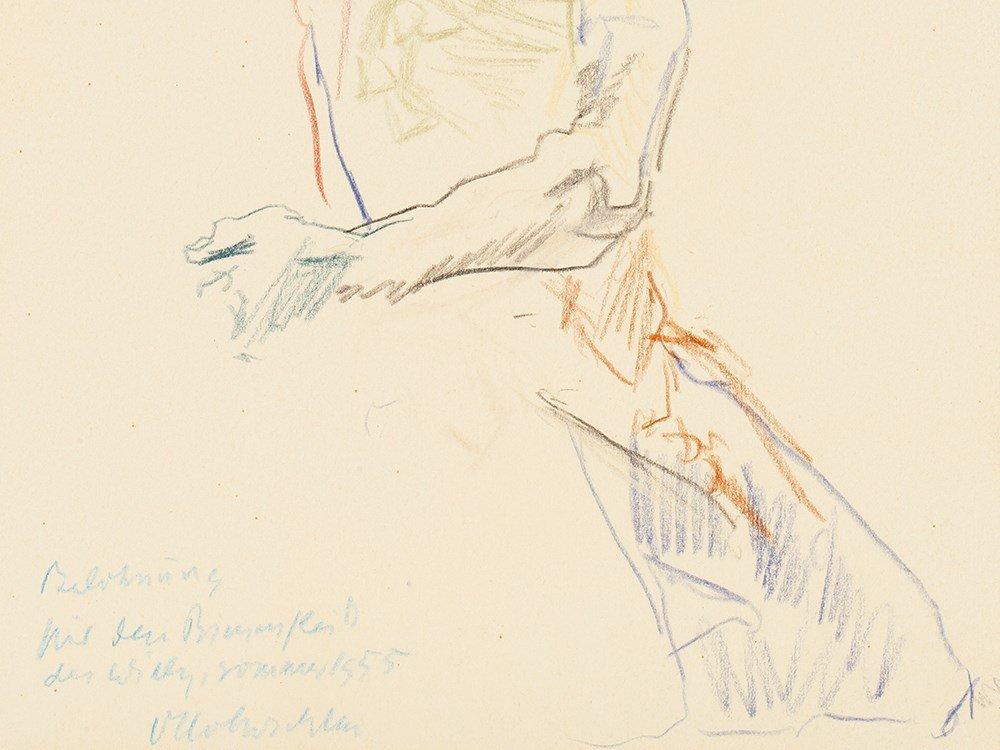 Oskar Kokoschka, Drawing, Back View of a Male Nude, - 6