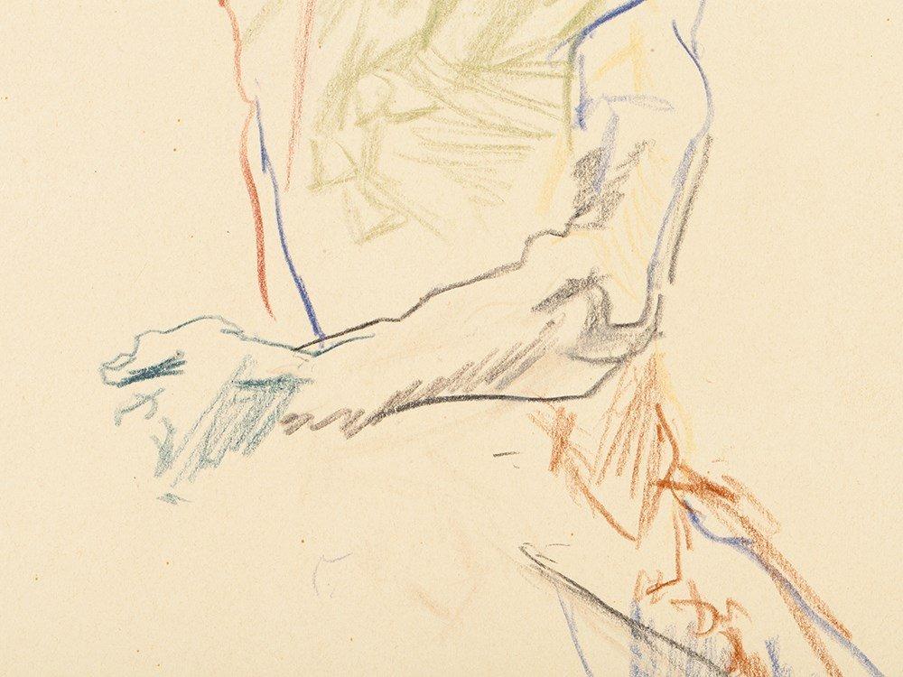 Oskar Kokoschka, Drawing, Back View of a Male Nude, - 7