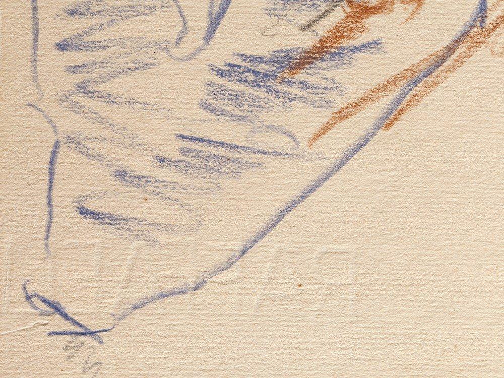 Oskar Kokoschka, Drawing, Back View of a Male Nude, - 9