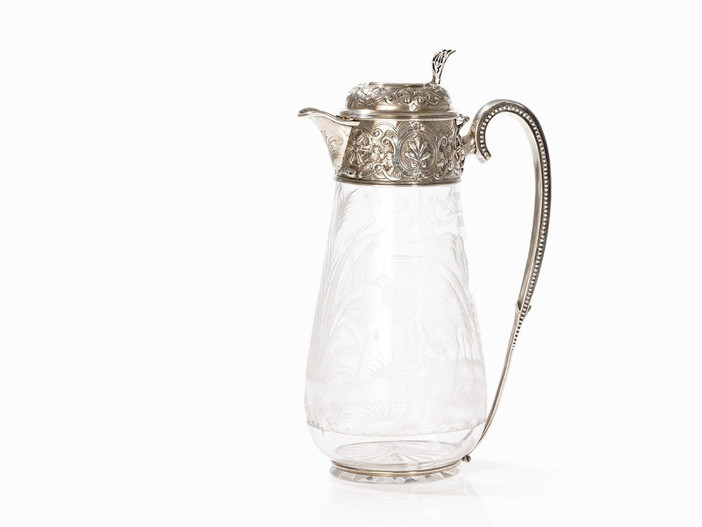 Victorian Silver and Glass Decanter, Sissons,