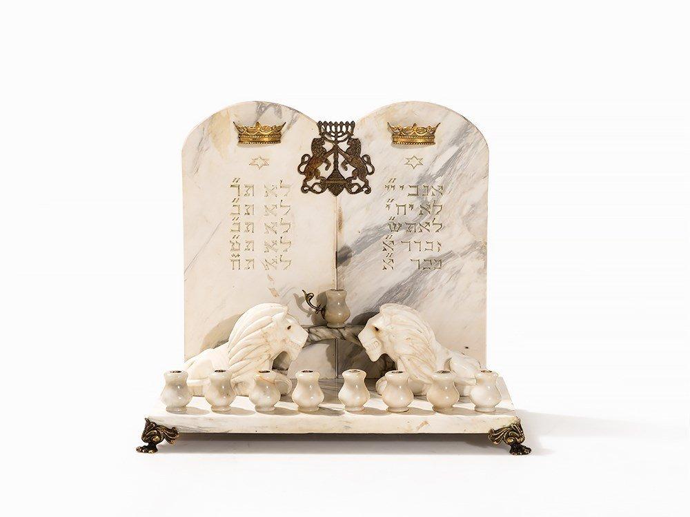Marble Menorah Hanukkah with Lions by S. Cygler,