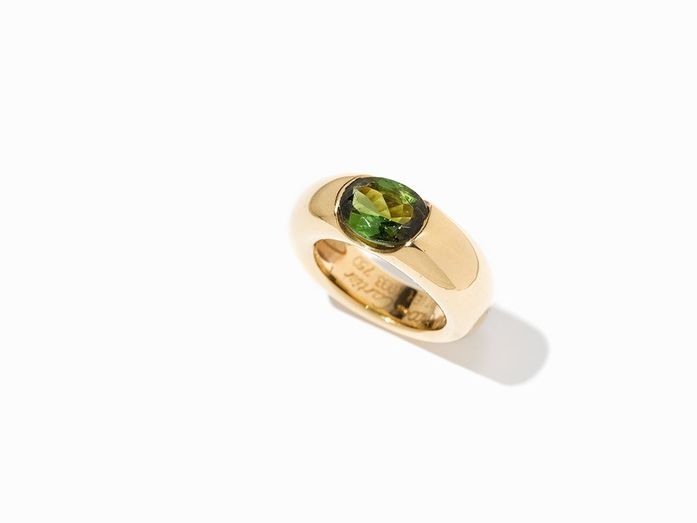 Cartier Solitaire Peridot Ring 'Ellipse', 18 K Gold,