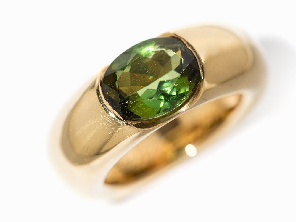 Cartier Solitaire Peridot Ring 'Ellipse', 18 K Gold, - 2