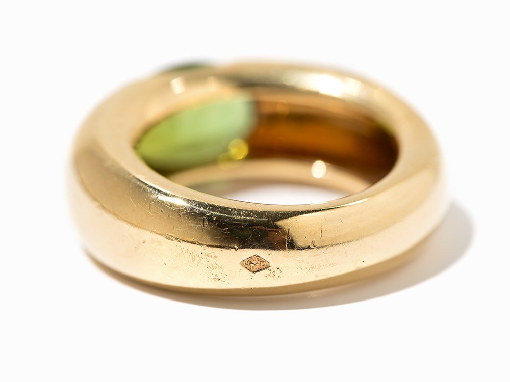 Cartier Solitaire Peridot Ring 'Ellipse', 18 K Gold, - 6