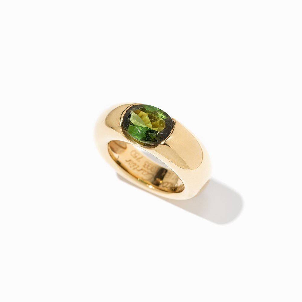 Cartier Solitaire Peridot Ring 'Ellipse', 18 K Gold, - 8