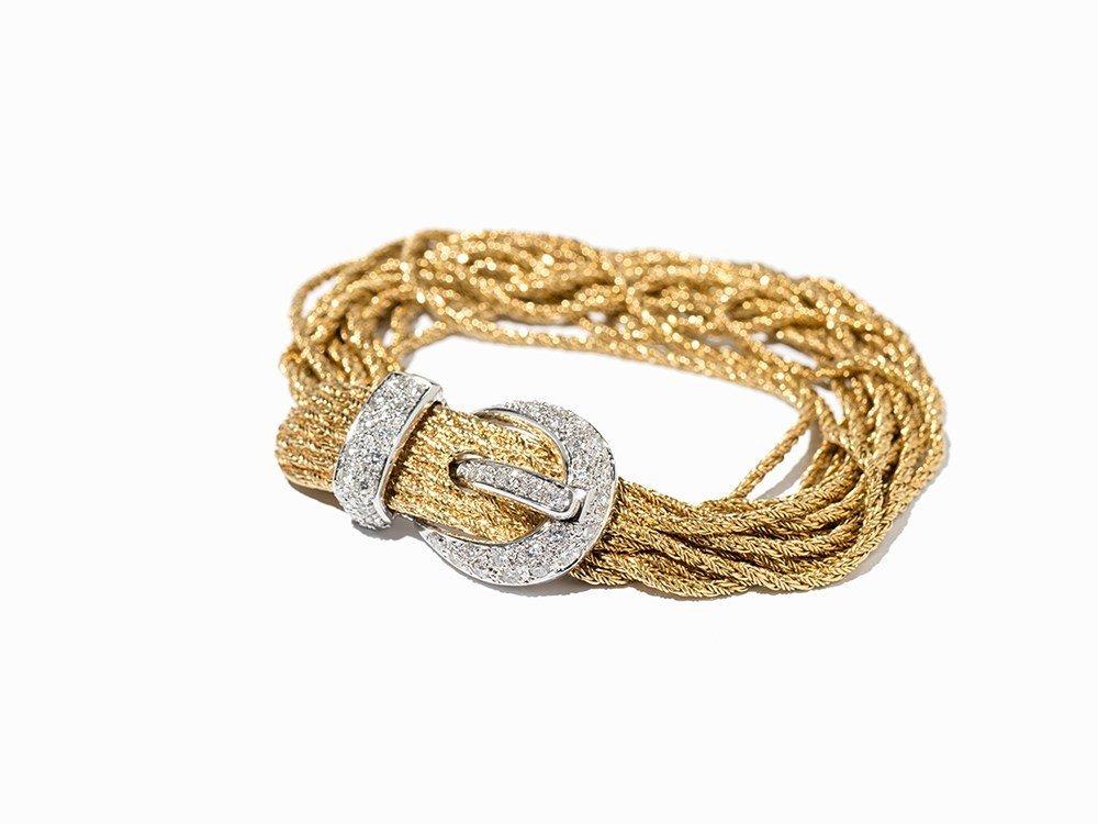Woven Gold Bracelet with Brilliants of c. 0.72 Ct, c.