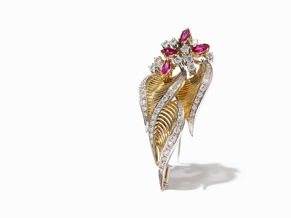 Leave Brooch of Gold, Diamonds and Rubies, c. 2.7 Ct.,