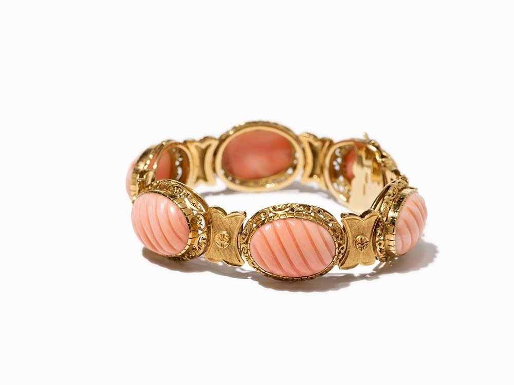 Yellow Golden Bracelet with 6 Angel Skin Corals, Italy,
