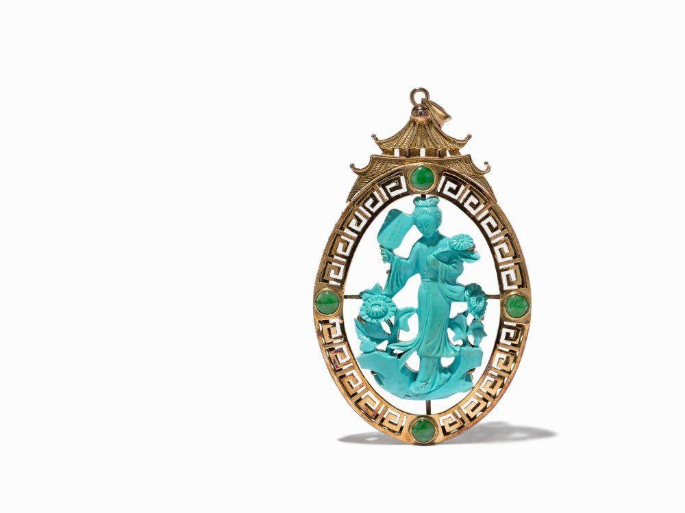 Gold Pendant with a Turquoise Carving of a Court Lady,