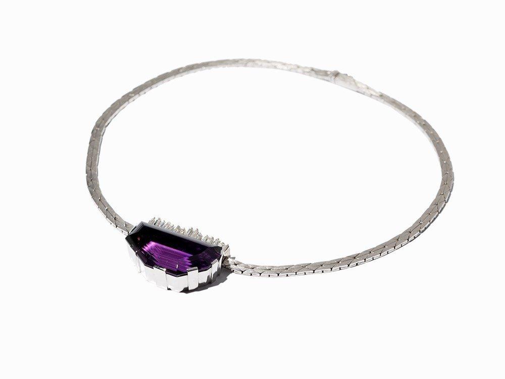 Design Amethyst Necklace with Diamonds, 14K Gold, circa