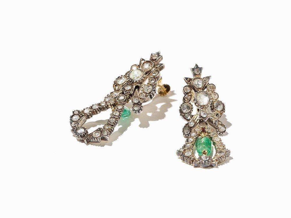 Biedermeier Earrings, White Gold, 2 Emeralds and