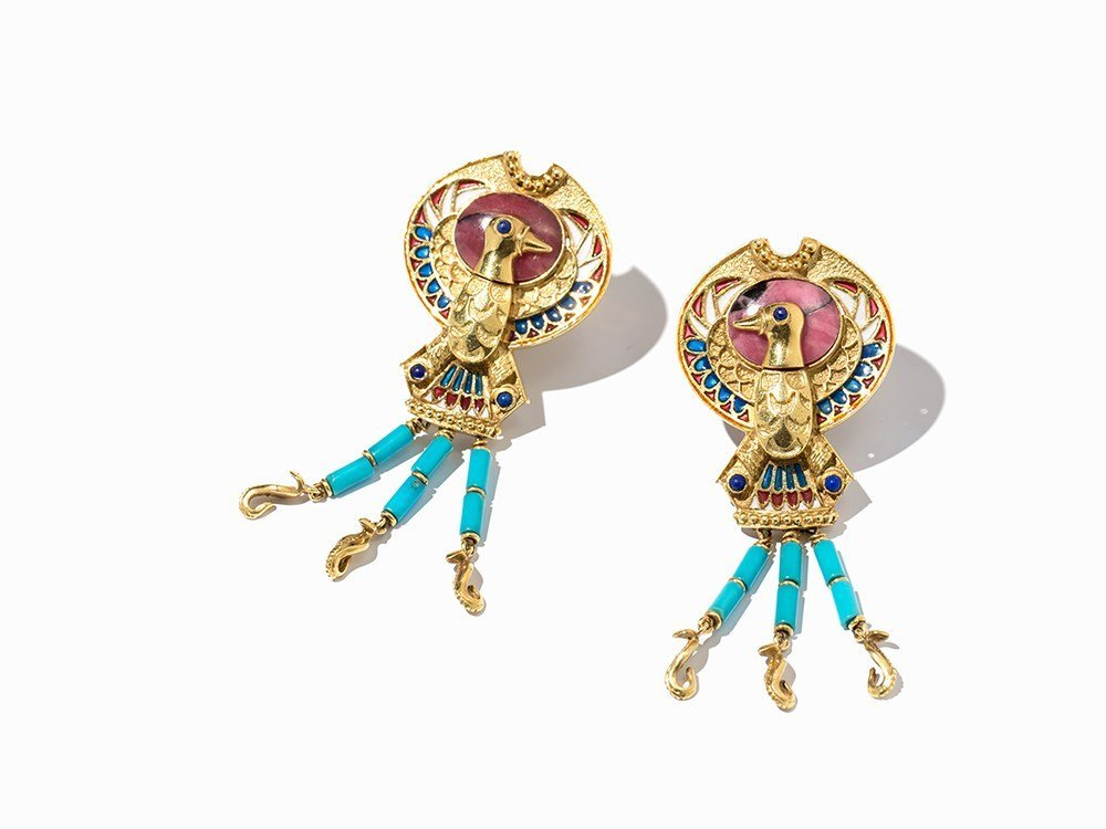 Pair of Earrings, Turquoise, Lapis Lazuli and Ruby