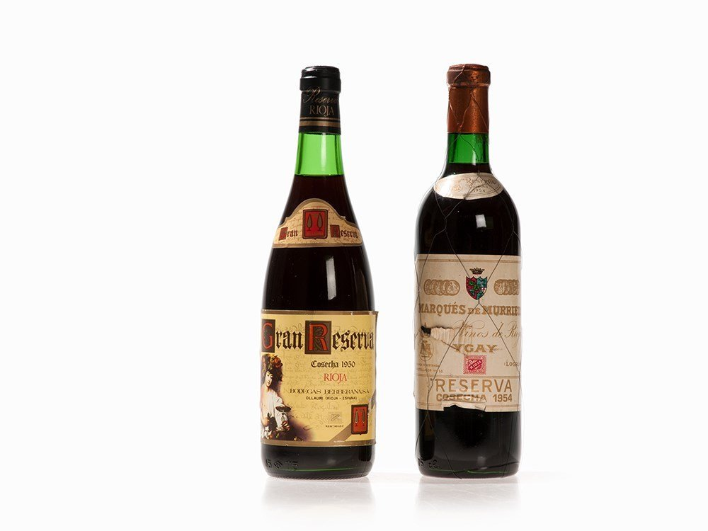 2 Bottles of Red Rioja Wine from 1950 and 1954