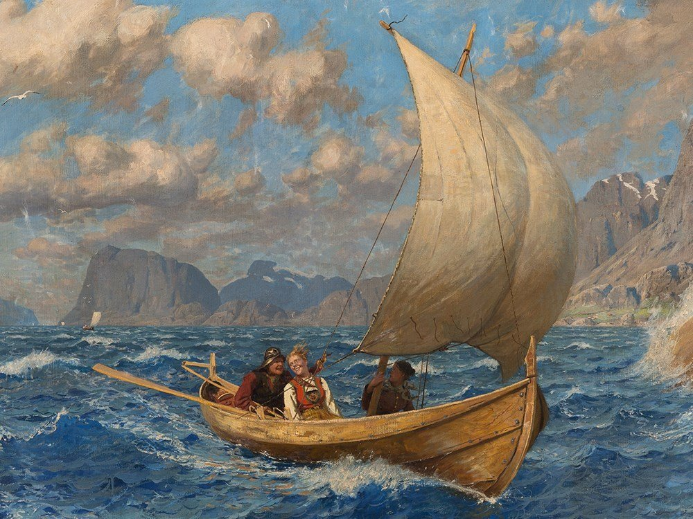 Hans Dahl (1849-1937), Crossing the Fjord in a Breeze