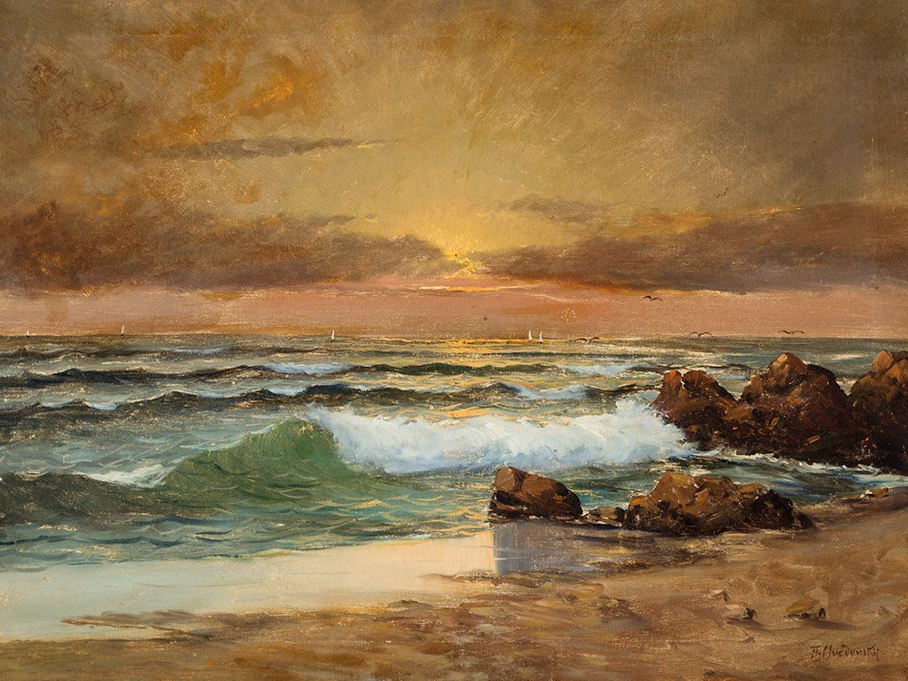 Pavel Svedomsky (1849-1904), Ocean View at Sunset,