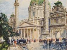 Friedrich Frank (1871-1945), Watercolor, Karlskirche,