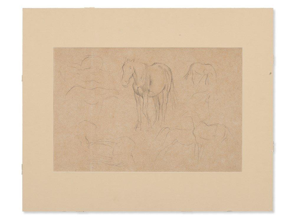 Edgar Degas, Pencil Drawing, Horse Studies, c. 1890 - 2