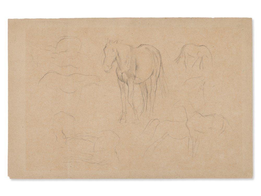 Edgar Degas, Pencil Drawing, Horse Studies, c. 1890 - 3