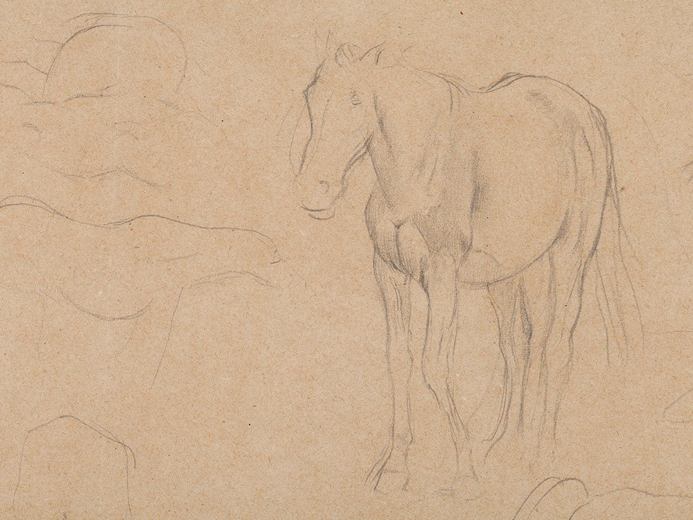 Edgar Degas, Pencil Drawing, Horse Studies, c. 1890 - 4