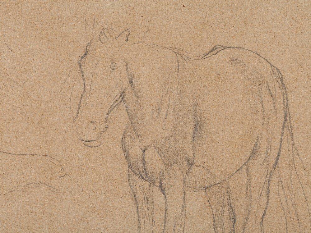 Edgar Degas, Pencil Drawing, Horse Studies, c. 1890 - 5