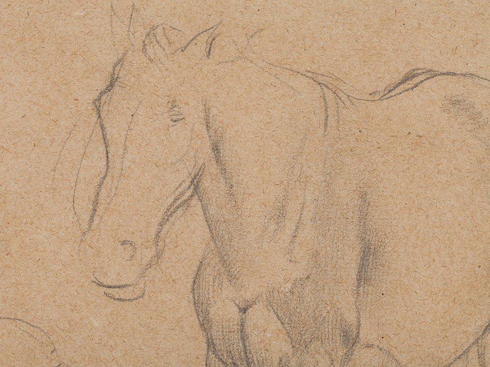 Edgar Degas, Pencil Drawing, Horse Studies, c. 1890 - 6