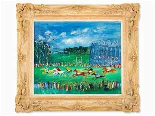 Jean Dufy (1888-1964), Oil Painting, 'Aux Courses', c.