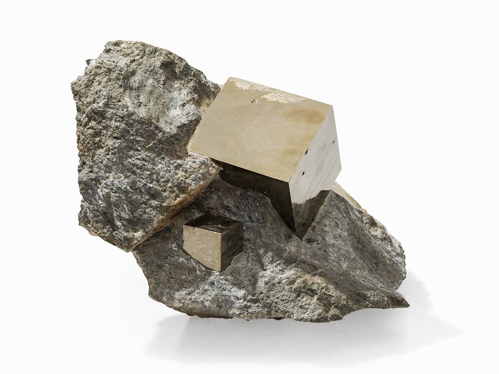 Two Cubic Pyrites on Bedrock, Spain, 50 Million Years