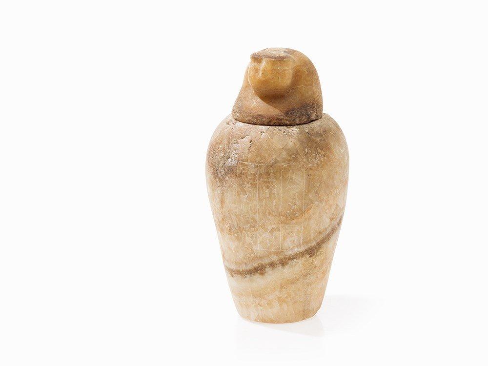 Alabaster Canopic Jar, Egypt, Presumably 664-332 BC