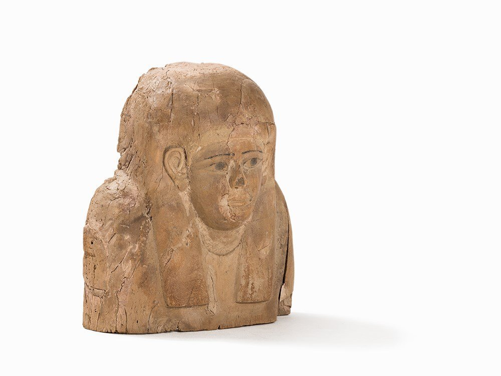 Egyptian Sarcophagus Bust of Wood, 400-300 BC