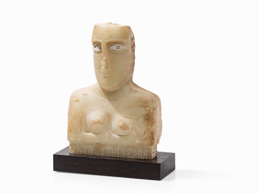 Female Alabaster Bust, South Arabia, Yemen, 100 BC