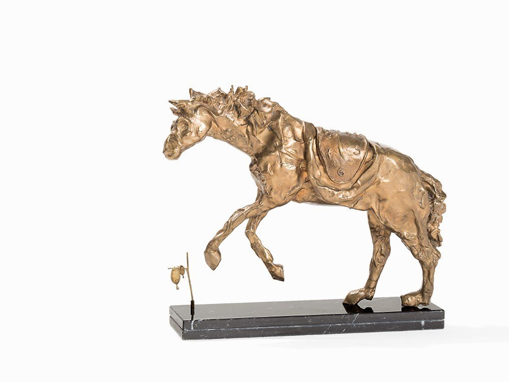 Salvador Dalí, Bronze Sculpture, Cheval à La Montre