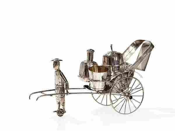 Chinese Export Silver Rickshaw Condiment Set, Bao Xing,