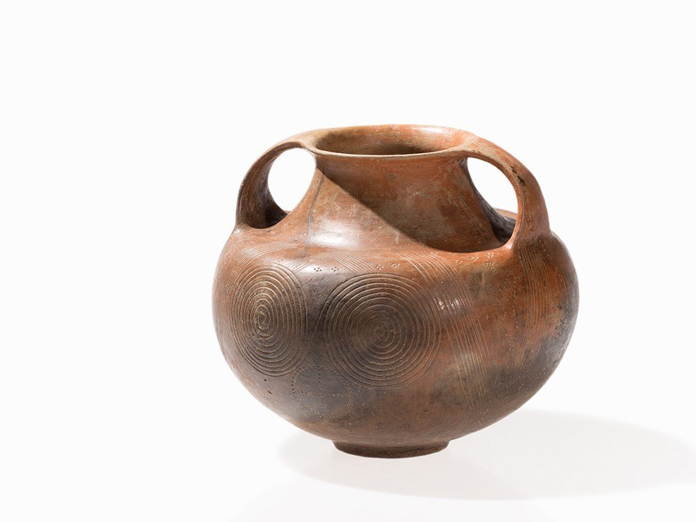Strap Handle Clay Amphora, Etruscan, 1st H. 7th Century