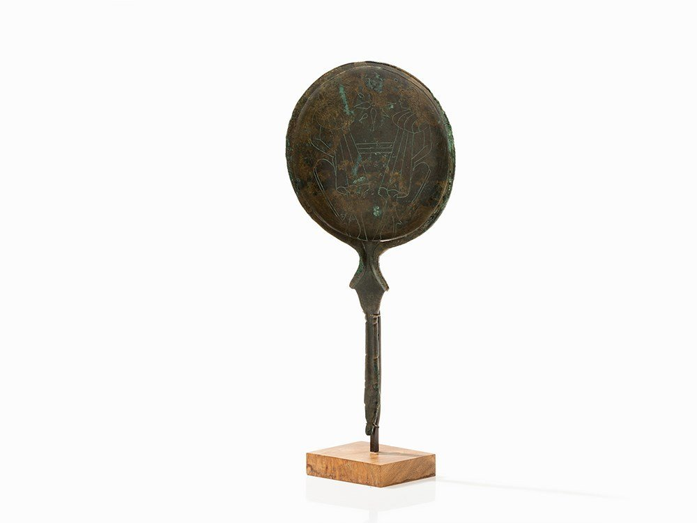 Bronze Mirror with Engraved Decoration, Etruscan, 4th