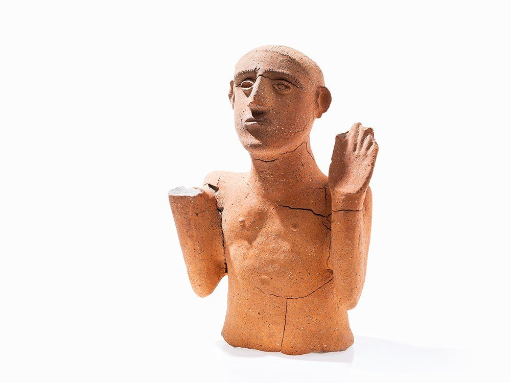 Figural Urn Cover in the Form of a Man, Etruscan, 7th
