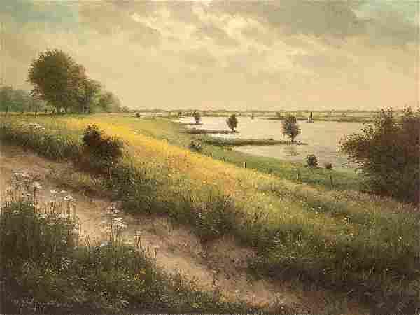 "H. J. Wijngaard ""Dyke Landscape"", Painting, late 20th"