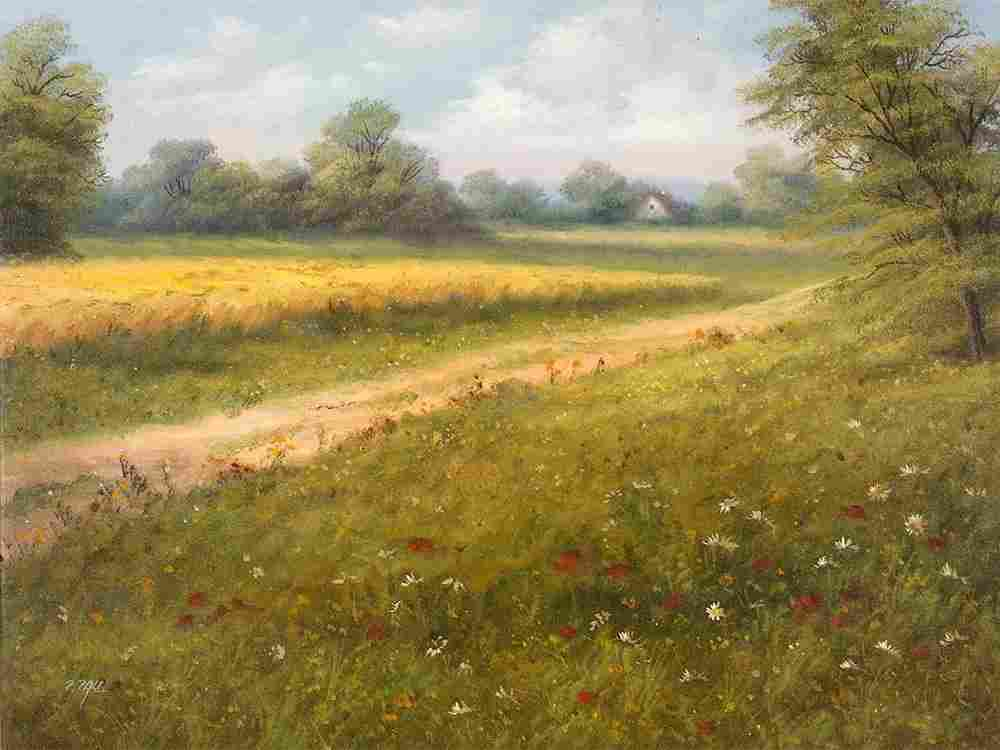 Paul Peter �Meadow and Fields�, Painting, End of 20th
