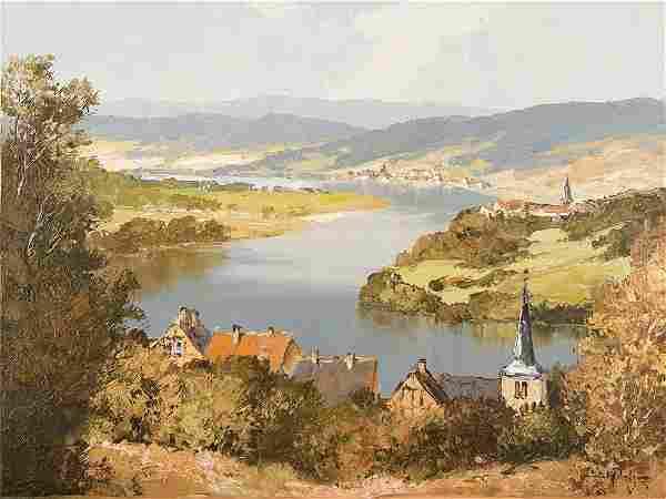 E. Paulsen 'Landscape on the Main', Oil Painting, 20th